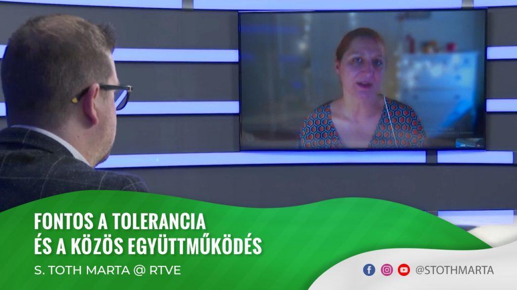 Fontos a tolerancia és a közös együttműködés. S. Toth Marta @ RTVE
